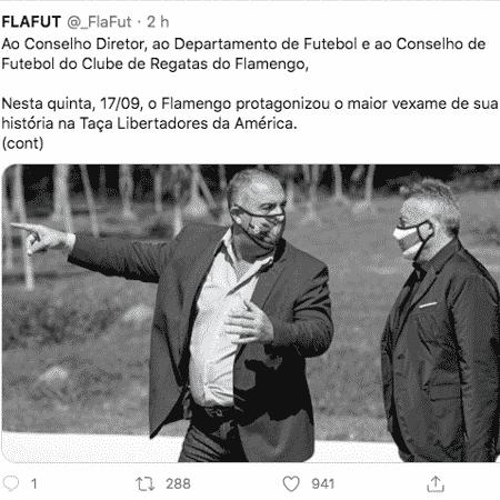 Tuíte do grupo FlaFut pedindo a imediata demissão do técnico Domènec Torrent - Reprodução Twitter
