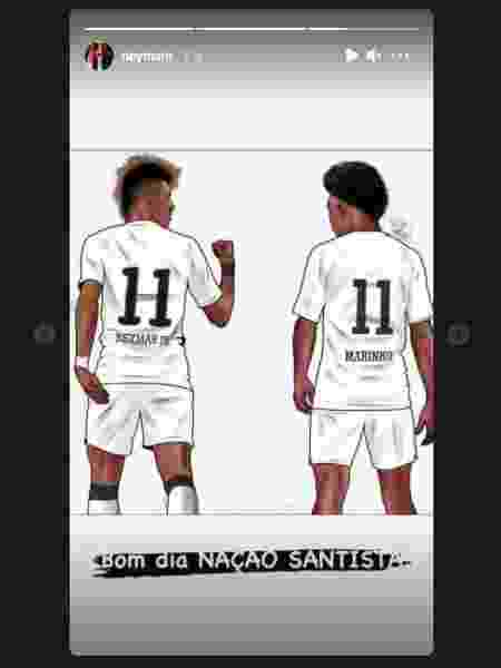Neymar publicar arte em que está ao lado de Marinho - Reprodução/