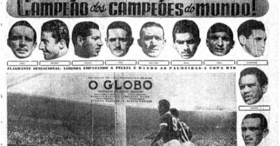 Capa do O Globo sobre a conquista da Taça Rio pelo Palmeiras em 1951