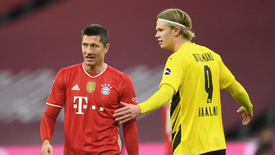 Lewandowski e Haaland durante Bayern x Dortmund pelo Alemão - ANDREAS GEBERT / POOL / AFP