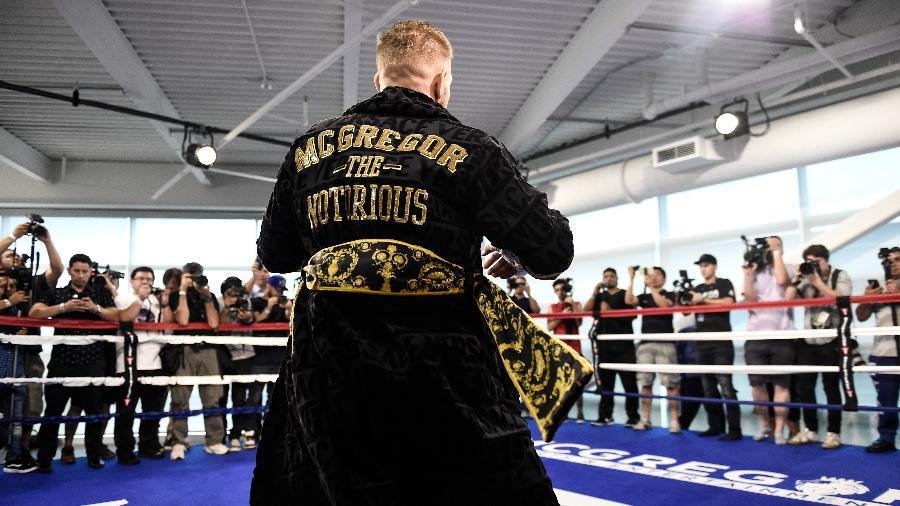 Conor McGregor, durante treino aberto para enfrentar Floyd Mayweather - Brandon Magnus/Zuffa LLC via Getty Images