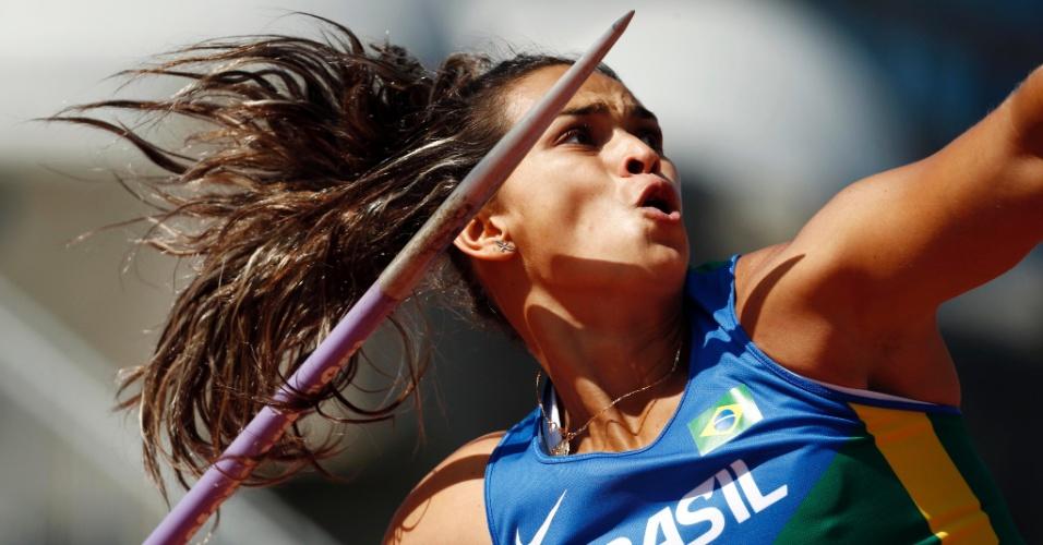 Laila Domingos durante a participação no lançamento de dardo. Brasileira terminou na quarta colocação