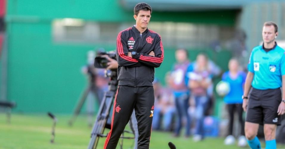 Barbieri, técnico do Flamengo, durante partida contra a Chapecoense