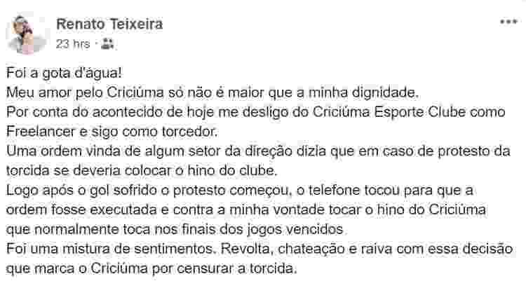 Torcedor e funcionário do Criciúma se desliga do clube após receber ordem no estádio - Reprodução/Facebook - Reprodução/Facebook