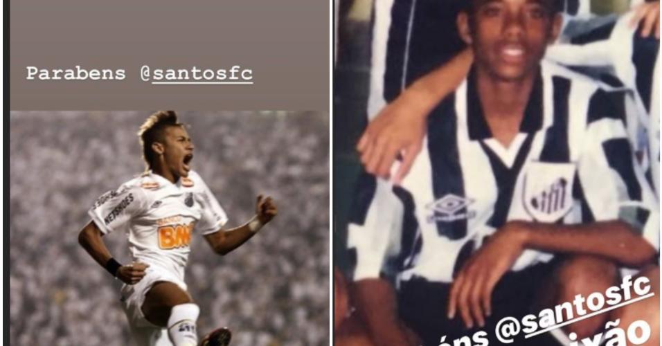 Robinho e Neymar postam stories em homenagem ao Santos