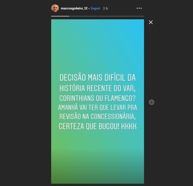 Marcos 'entra na onda' da web e zoa VAR de Corinthians x Flamengo