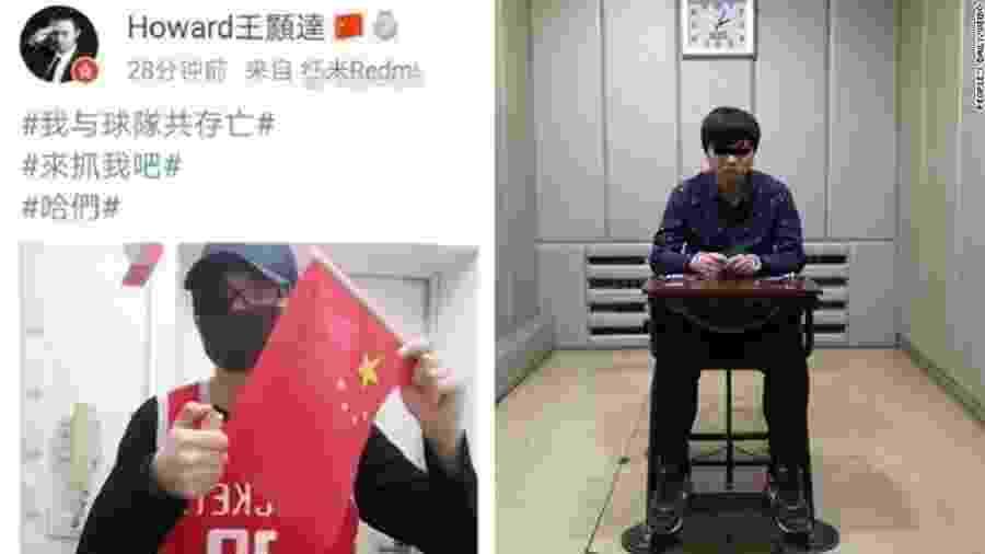 """9.out.2019 - Torcedor do Houston Rockets é preso em Hong Kong após ameaçar queimar bandeira da China - Reprodução/People""""s Daily Weibo"""