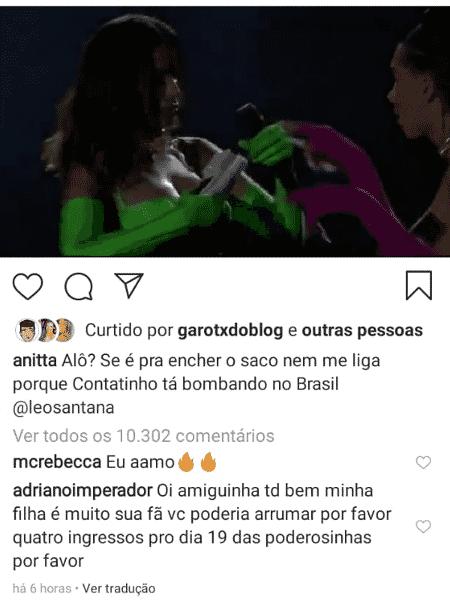 Adriano Imperador comenta em post de Anitta pedindo ingresso de show para sua filha - Reprodução