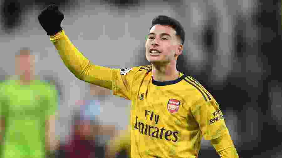 Gabriel Martinelli comemora gol pelo Arsenal contra o West Ham - Stuart MacFarlane/Arsenal FC via Getty Images