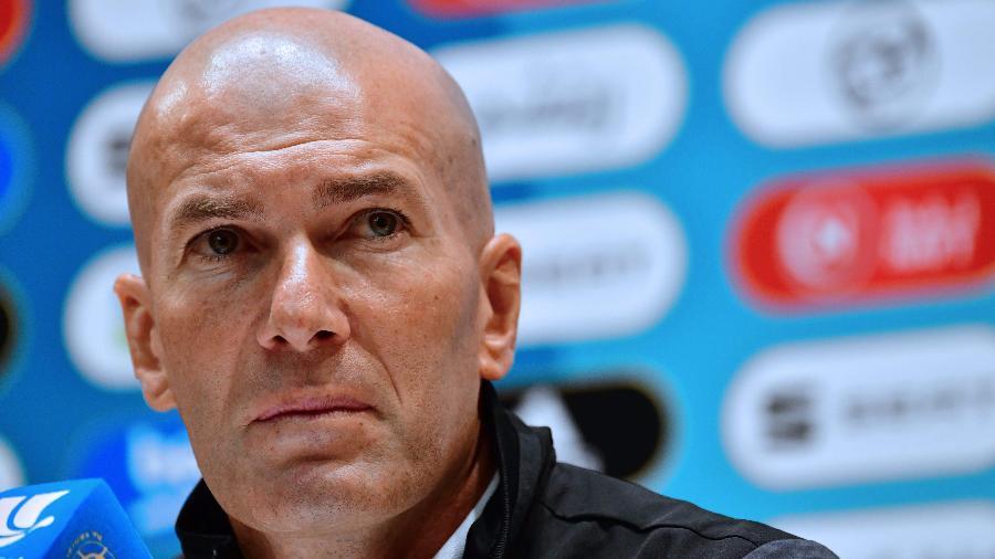 Zinedine Zidane em entrevista coletiva do Real Madrid - Giuseppe CACACE / AFP