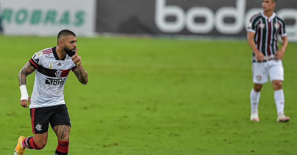 Gabigol comemora gol marcado contra o Fluminense