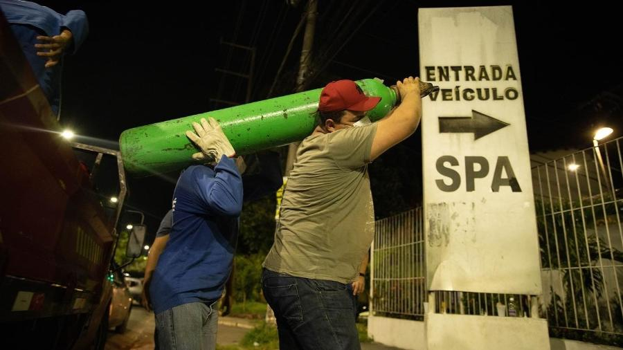 ONG Parceiros Brilhantes está abastecendo com itens básicos e oxigênio os hospitais e UBSs de Manaus - Tadeu Rocha/Reprodução ONG Parceiros Brilhantes