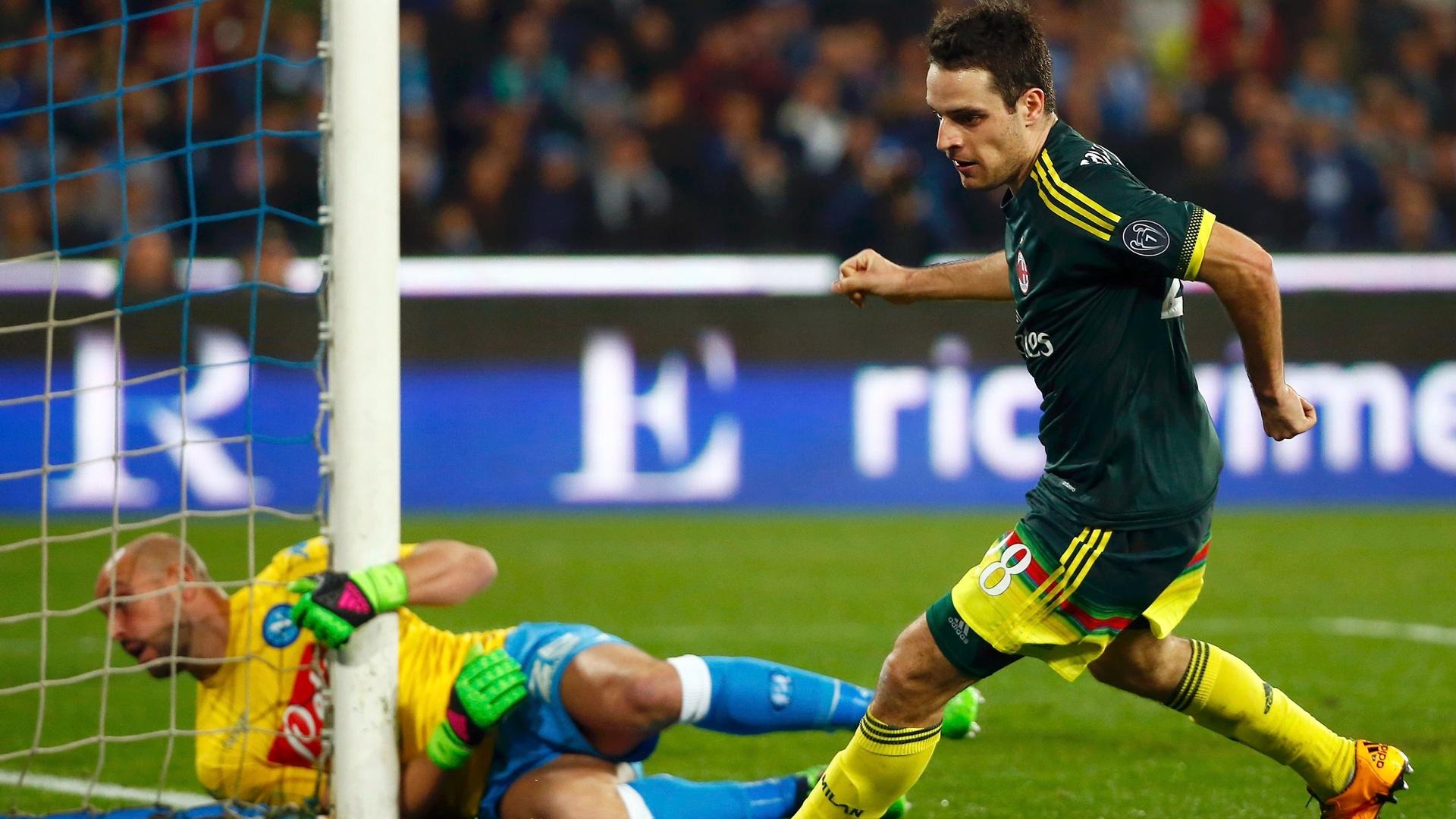 Bonaventura comemora seu gol de empate do Milan contra o Napoli, no Campeonato Italiano
