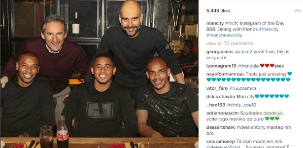 Gabriel Jesus em jantar com Guardiola, Fernandinho e Fernando