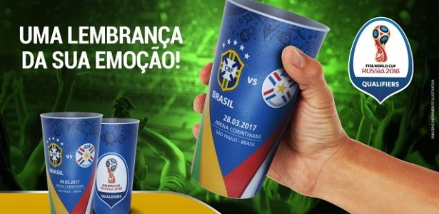 Jogo entre Brasil e Paraguai vai ter copo como lembrança