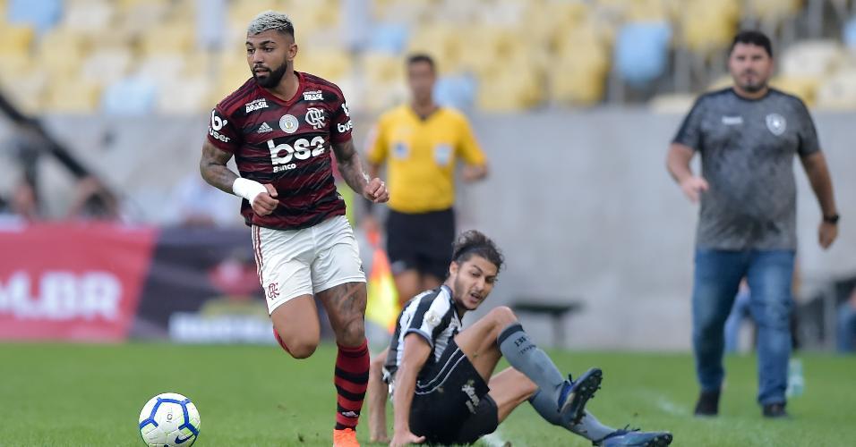 Gabigol, durante partida entre Flamengo e Botafogo