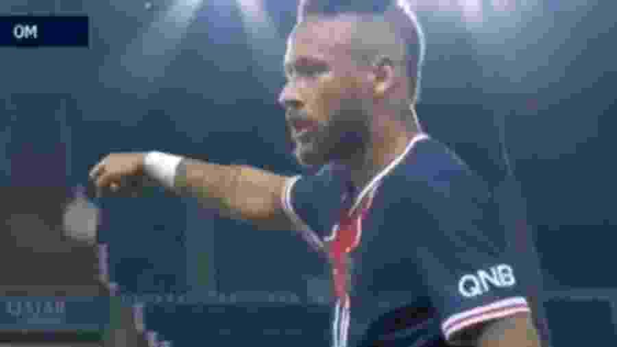 Neymar se desentendeu em campo com Álvaro Gonzalez, zagueiro do Olympique de Marselha - Reprodução