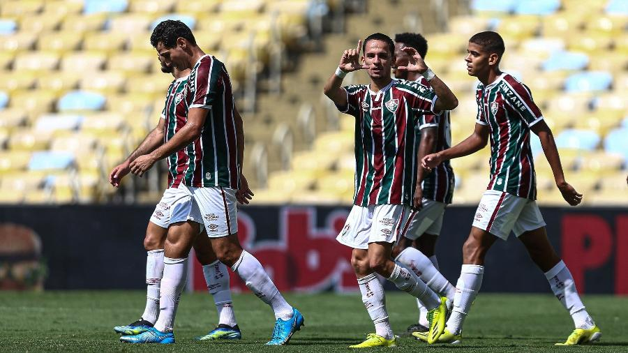 Gabriel Teixeira comemora gol marcado pelo Fluminense - Lucas Merçon