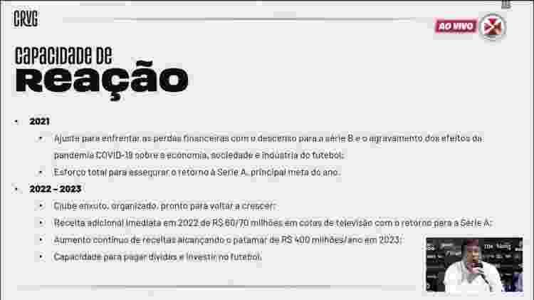 Os objetivos da diretoria de Jorge Salgado traçados para regularizar as dívidas do Vasco nos próximos três anos - Reprodução / Vasco TV - Reprodução / Vasco TV