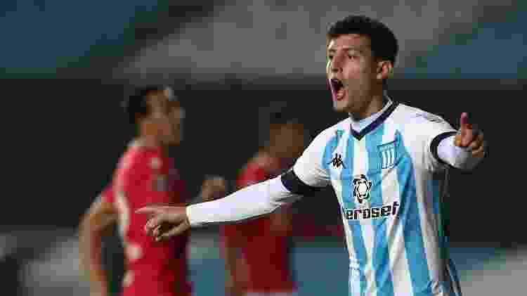 Tomás Chancalay, atacante do Racing, em ação pela Copa Libertadores  - Agustin Marcarian - Pool/Getty Images - Agustin Marcarian - Pool/Getty Images