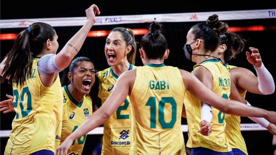 Brasileiras festejam vaga na final da Liga das Nações de Vôlei - Divulgação/FIVB
