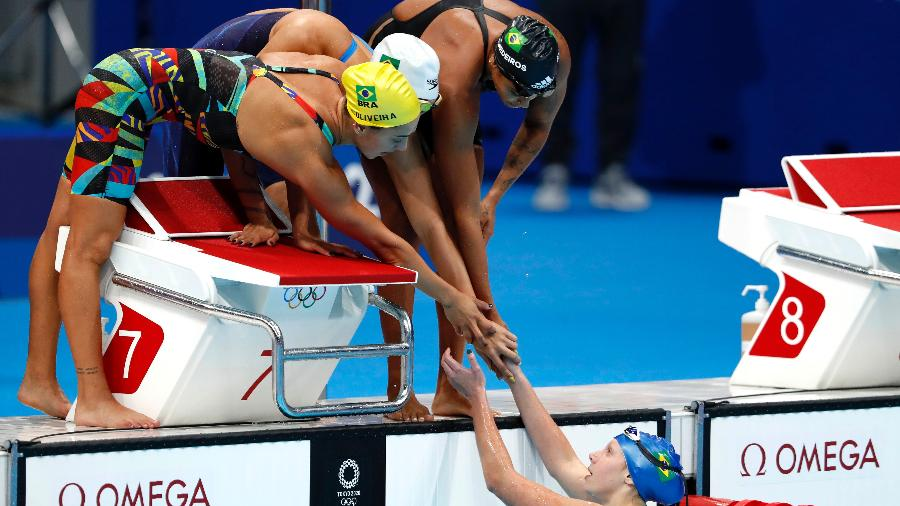 Ana Vieira, Etiene Medeiros, Stephanie Balduccini e Larissa Oliveira integraram a seleção feminina no 4x100m livre nos Jogos Olímpicos de Tóquio - Satiro Sodré/SSPress/CBDA