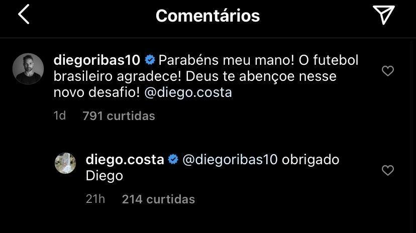 Companheiros no Atlético de Madrid, Diego Costa e Diego Ribas se reencontrarão, agora como rivais, no Brasil