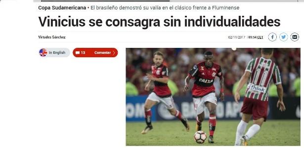Jornal Marca elogia Vinicius Junior após clássico