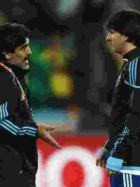Maradona foi técnico de Messi na Copa do Mundo da África em 2010  - Alex Livesey - FIFA/Getty Images