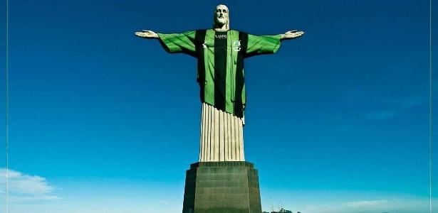América-MG publicou a imagem do Cristo Redentor com a camisa do time  - Reprodução/Twitter