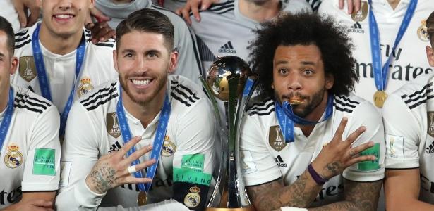 Sergio Ramos e Marcelo celebram o quarto título mundial do Real Madrid nos Emirados - Suhaib Salem/Reuters
