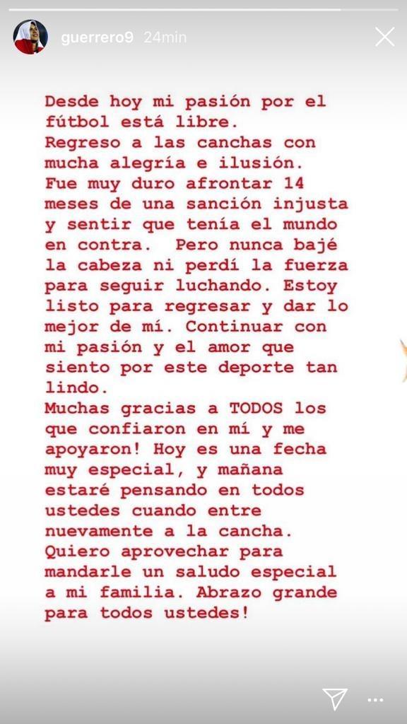 Paolo Guerrero mensagem Instagram