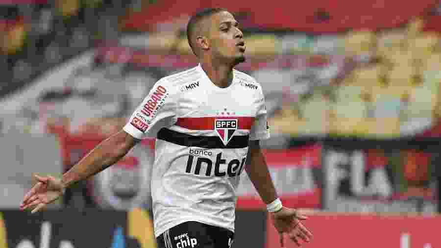 Brenner, do São Paulo, comemora um de seus gols em 2020 - ALEXANDRE DURÃO/ESTADÃO CONTEÚDO