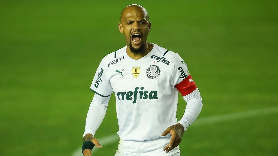 Felipe Melo grita com companheiros em jogo do Palmeiras - Pedro H. Tesch/AGIF