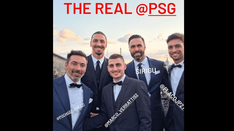 Ibrahimovic posta foto com ex-jogadores do PSG durante casamento de Verratti - Instagram - Instagram