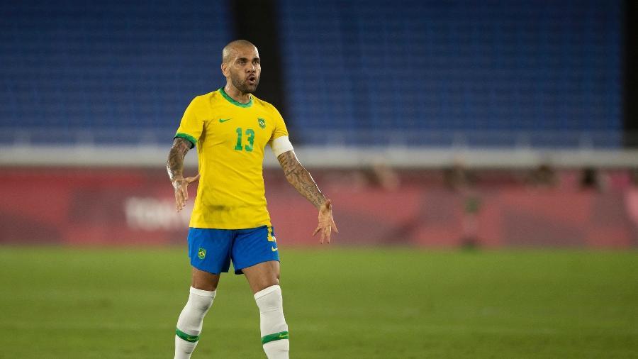 Daniel Alves durante partida entre Brasil e Espanha pela final das Olimpíadas de Tóquio - Lucas Figueiredo / CBF