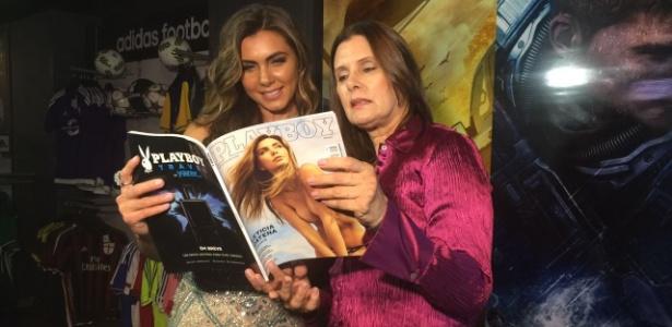 Letícia Datena e a mãe no evento de lançamento da Playboy da apresentadora - Luiza Oliveira/UOL