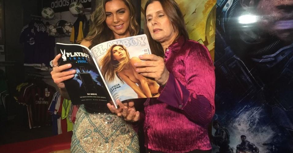 Letícia Datena e a mãe no evento de lançamento de sua Playboy