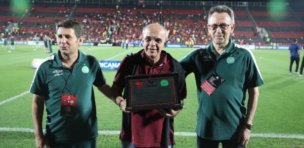 Nei Maidana (esquerda) foi desligado da vice-presidência de futebol da Chape - Gilvan de Souza/Flamengo/Divulgação