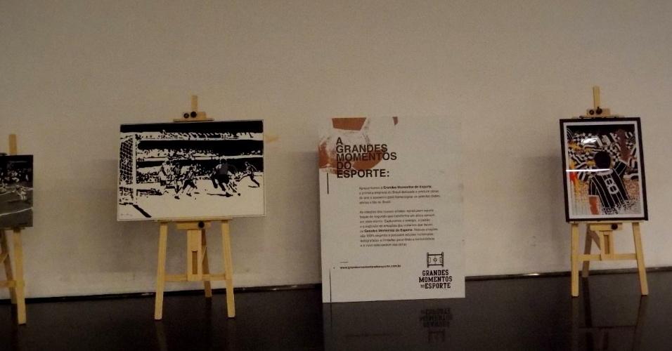 Exposição com pinturas sobre o gol de Basílio no Setor Norte da Arena Corinthians