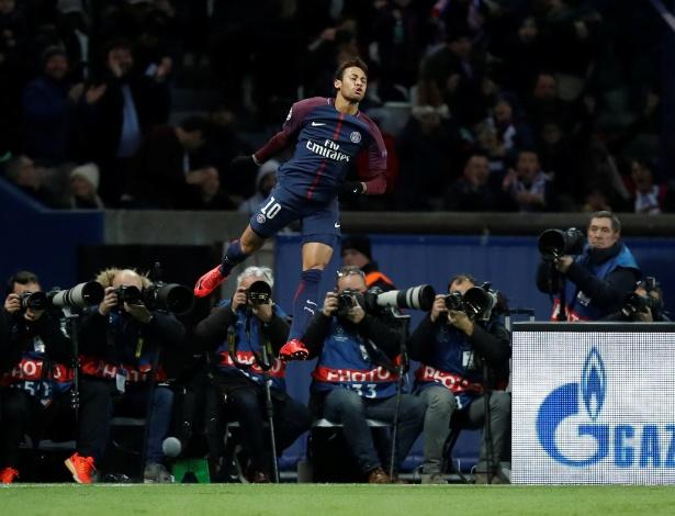 Neymar atingiu duas marcas pessoais na goleada do PSG sobre o Celtic - REUTERS/Christian Hartmann