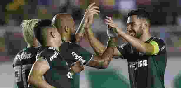 Bruno Henrique comemora gol de falta em amistoso contra a Alajuelense - Divulgação/Twitter/Avanti Palmeiras