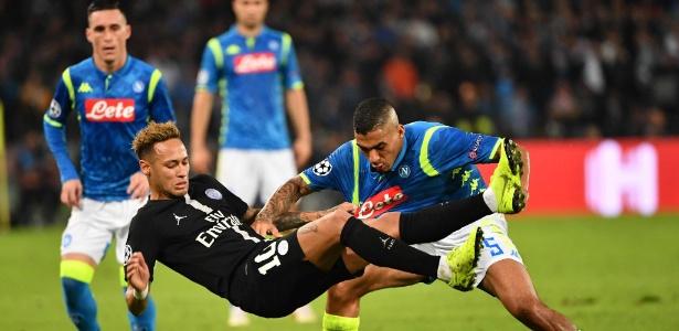 Allan se destacou com o Napoli nos jogos contra o PSG
