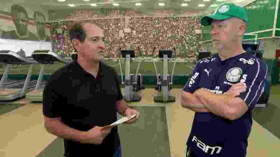 Mano Menezes concede entrevista para Muricy Ramalho no CT do Palmeiras - Reprodução/Globoesporte