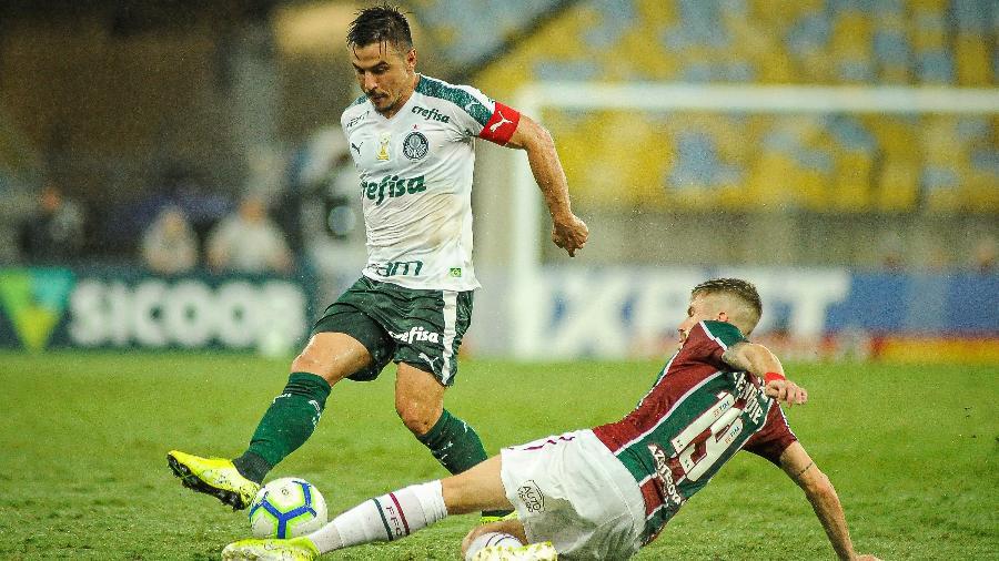 William disputa bola com Caio Henrique na vitória do Fluminense sobre o Palmeiras - Allan Carvalho/AGIF