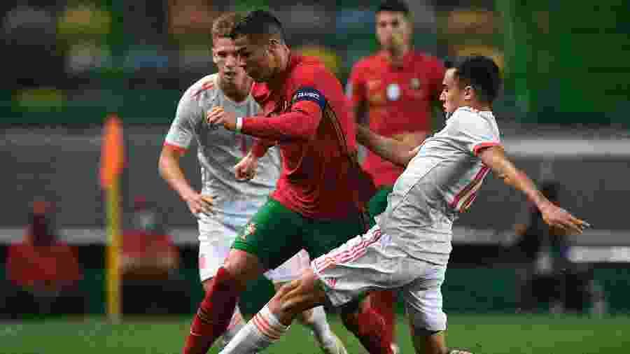 Cristiano Ronaldo, durante amistoso entre Portugal e Espanha - Octavio Passos/Getty Images