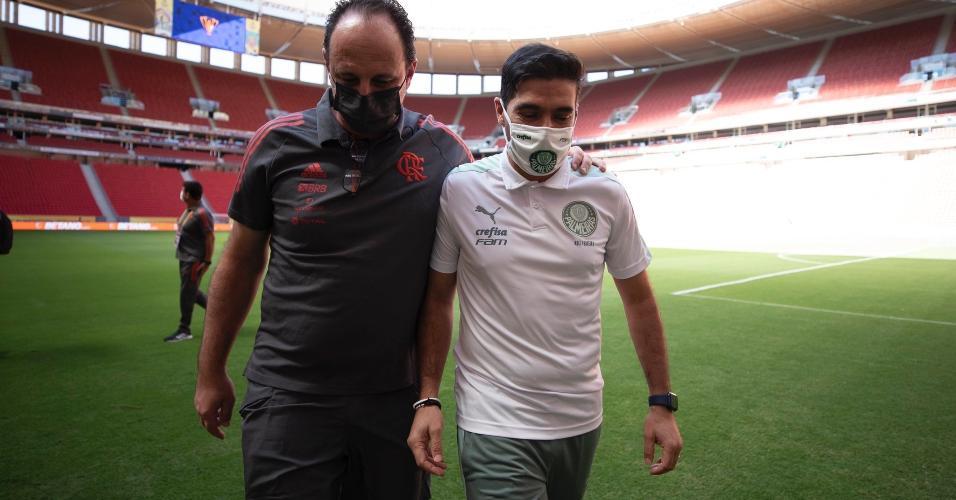 Rogério Ceni e Abel Ferreira antes da final da Supercopa do Brasil
