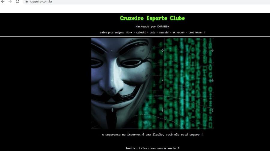 Site do Cruzeiro foi alvo de ataque cibernático na manhã desta segunda-feira (19) - Reprodução