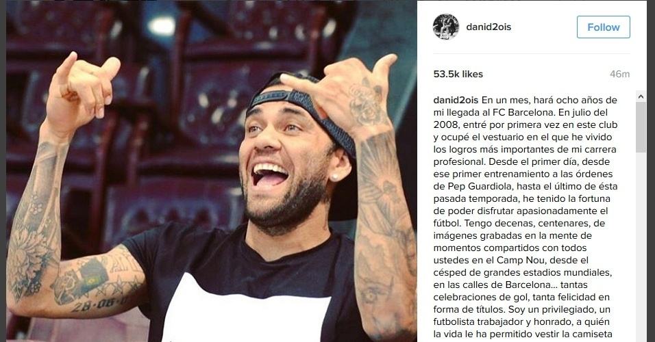 Daniel Alves se despede do Barcelona em carta no Instagram
