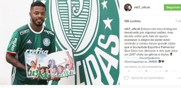 """Michel Bastos reativa o seu Instagram para """"expressar alegria no Palmeiras"""""""